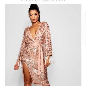 sequin and tassel kimono mid dress